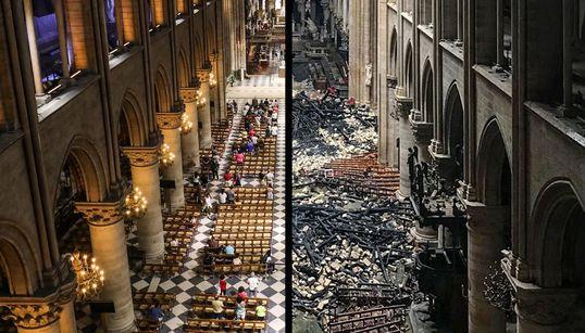 [화보] 화재 발생 전과 후, 노트르담 대성당의