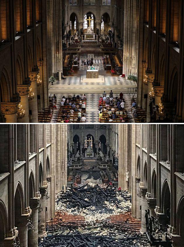 ノートルダム大聖堂、火災の前と後を比べた写真でわかる、被害の大きさと残ったもの
