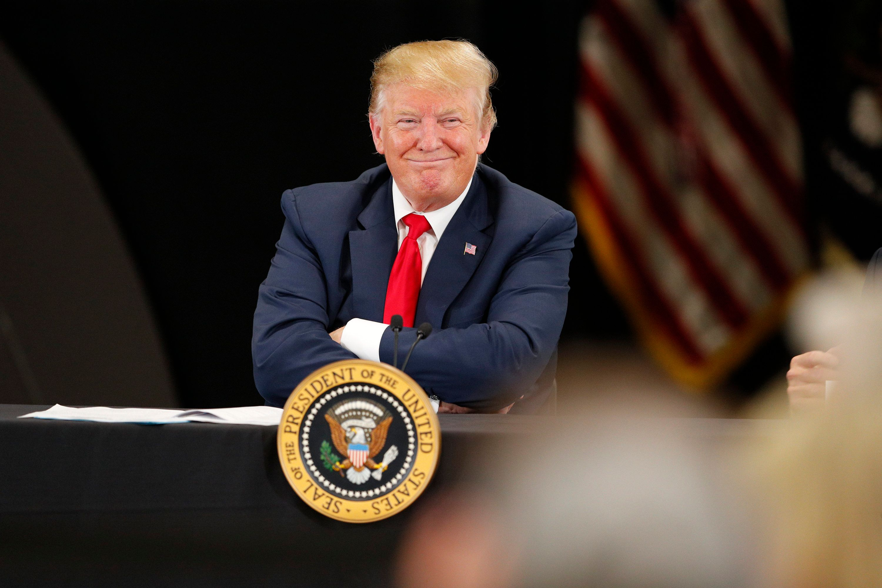 BURNSVILLE, MN - APRIL 15: U.S. President Donald Trump speaks at a roundtable on the economy and tax reform at Nuss Trucking and Equipment on April 15, 2019 in Burnsville, Minnesota. At the special Tax Day roundtable Trump gave a defense of his 2017 tax cuts.(Photo by Adam Bettcher/Getty Images)
