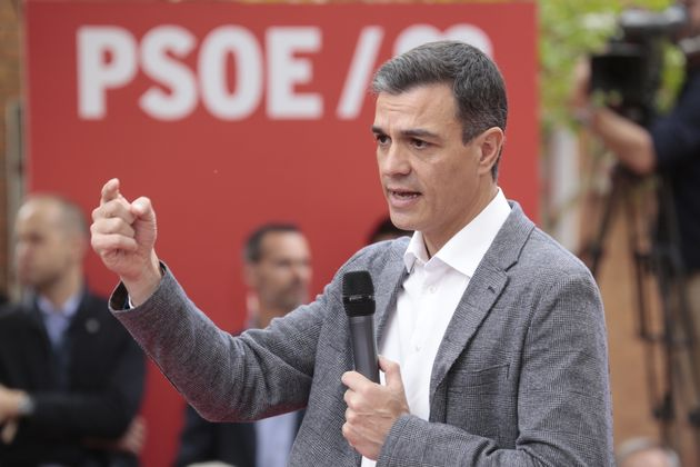 Pedro Sánchez, el candidato socialista a La Moncloa, el pasado 15 de abril en un mitin en Leganés
