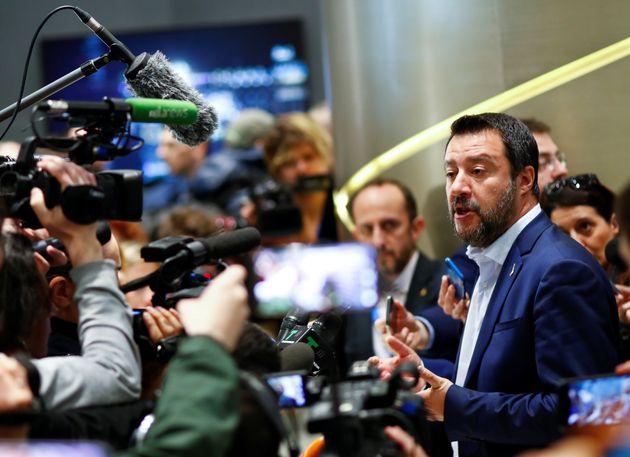 Matteo Salvini, el pasado 8 de abril en un acto de campaña de cara a las elecciones europeas,...