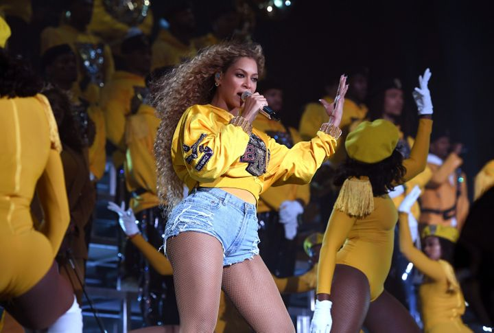 Beyonce Knowles performs on stage during 2018 Coachella Valley Music And Arts Festival Weekend 1.