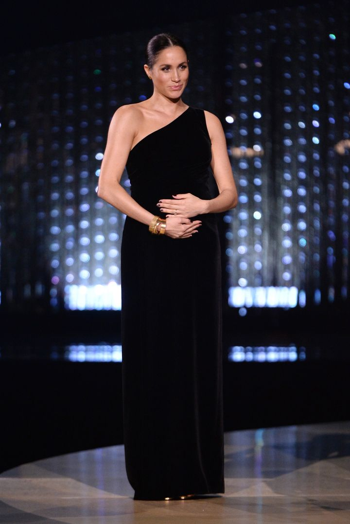 Meghan, Duchess of Sussex on stage during The Fashion Awards 2018 at Royal Albert Hall on Dec. 10, 2018 in London.