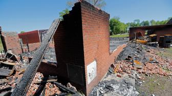 The burnt ruins of the St. Mary Baptist Church, one of three that recently burned down in St. Landry Parish, are seen in Port Barre, La., Wednesday, April 10, 2019. The first fire occurred March 26 at St. Mary Baptist Church in Port Barre, and the second happened April 2 at Greater Union Baptist Church in Opelousas. On April 4, Mount Pleasant caught fire. (AP Photo/Gerald Herbert)