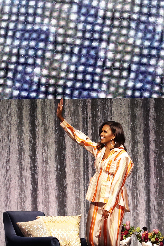 Wearing an orange-and-white-striped Roksanda pajama suit in Paris, France, on April 16.