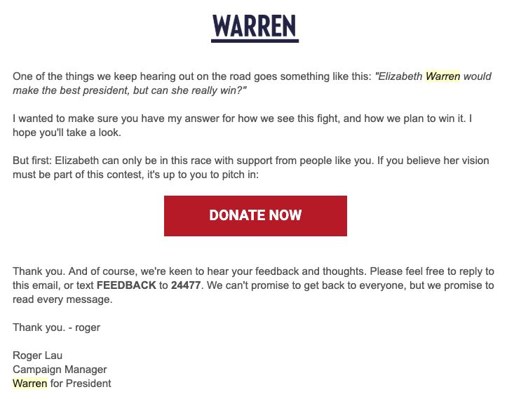 On March 27, Sen. Elizabeth Warren's campaign emailed supporters about the electability