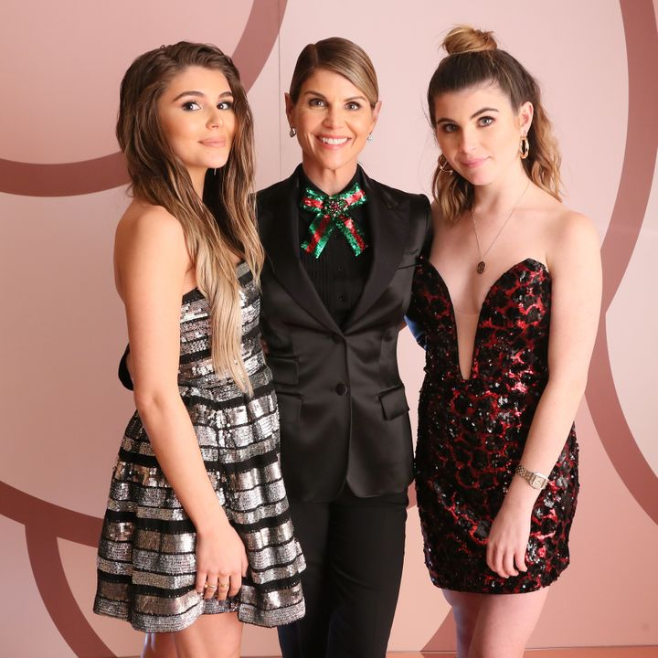 From left, Olivia Jade Giannulli, Lori Loughlin and Isabella Rose Giannulli celebrate the launch of an Olivia Jade X Sephora