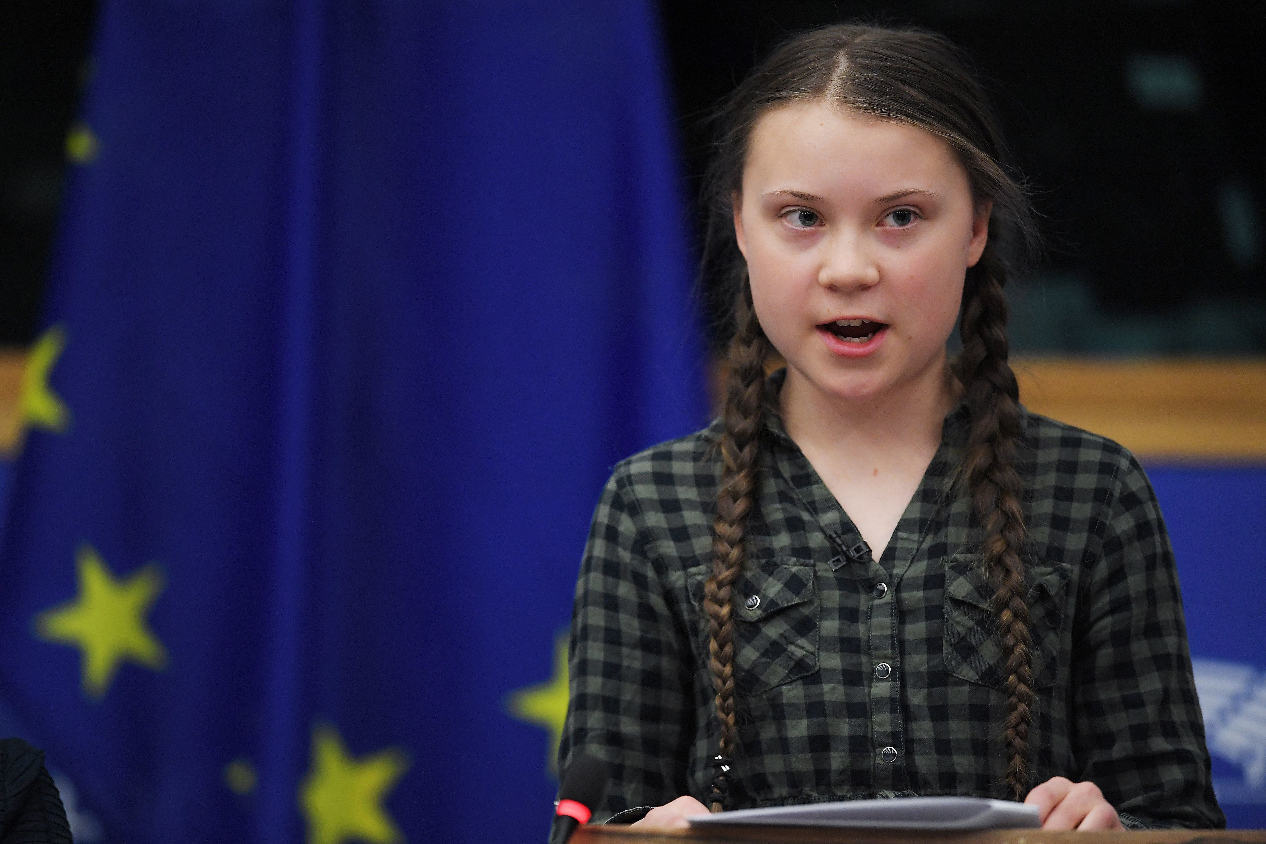 Swedish climate activist Greta Thunberg speaks during a debate with the EU Environment, Public Health and Food Safety Committee during a session at the European Parliament on April 16, 2019 in Strasbourg, eastern France. - Sweden's teenage activist Greta Thunberg on April 16 urged Europeans to vote in next month's elections on behalf of young people like her who cannot yet cast ballots but demand decisive action against climate change. During a visit to the European Parliament in the French city of Strasbourg, Thunberg, 16, told a press conference that time is running out to stop the ravages of global warming. (Photo by FREDERICK FLORIN / AFP)        (Photo credit should read FREDERICK FLORIN/AFP/Getty Images)