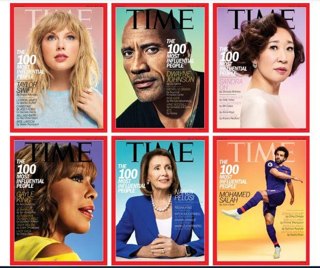 Six des 100 personnalités ont eu droit à une couverture du Time, Taylor Swift, Dwayne Johnson,...