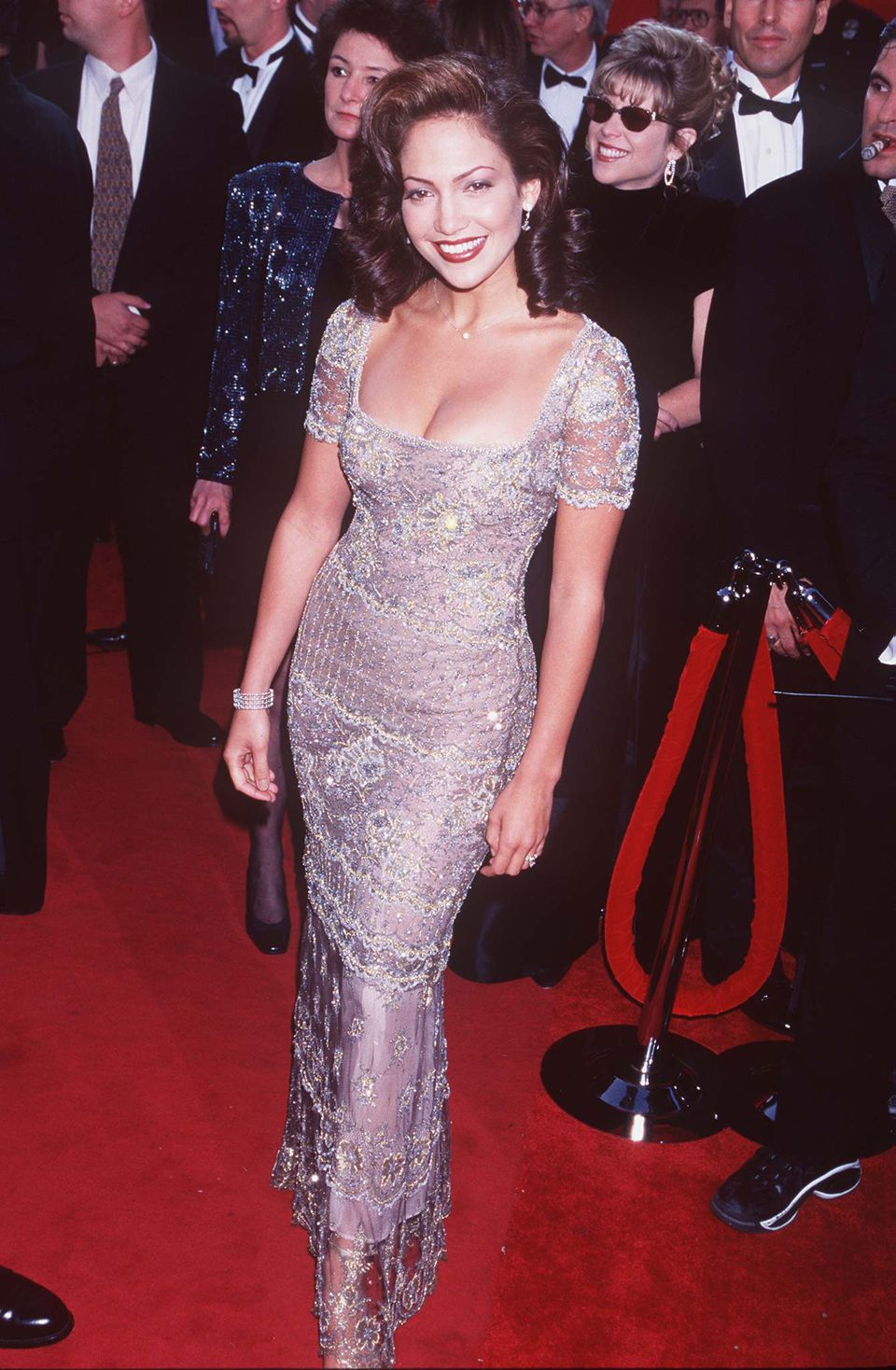 Lopez wears aBadgley Mischka dress for her first Oscars ceremony in 1997.