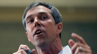 Democratic presidential candidate Beto O'Rourke addresses a party at a hotel in Richmond, Va., Tuesday, April 16, 2019. (Bob Brown/Richmond Times-Dispatch via AP)