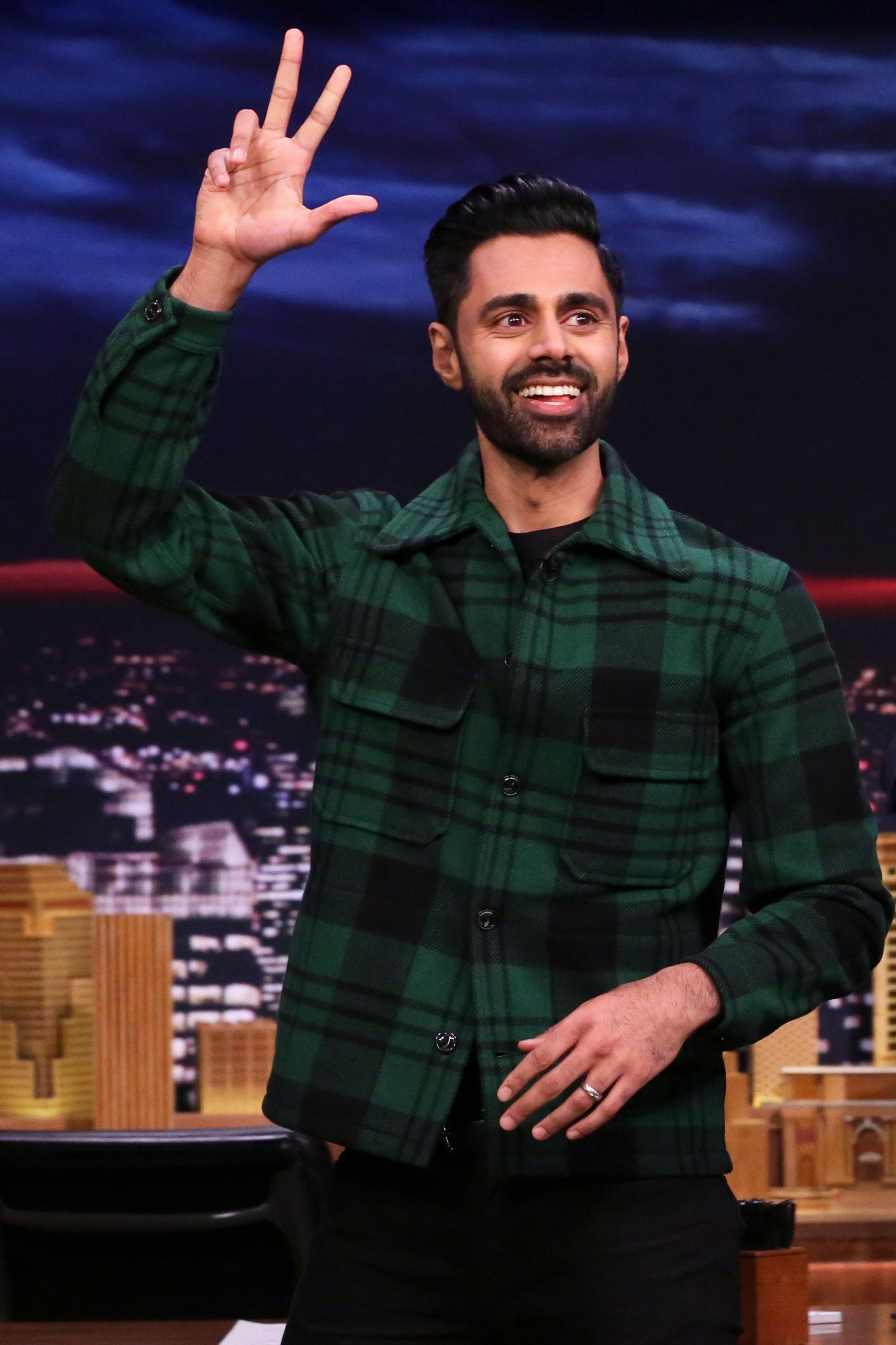 THE TONIGHT SHOW STARRING JIMMY FALLON -- Episode 1021 -- Pictured: Comedian Hasan Minhaj arrives to the show on February 22, 2019 -- (Photo by: Andrew Lipovsky/NBC/NBCU Photo Bank via Getty Images)