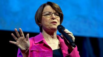 Democratic presidential candidate Sen. Amy Klobuchar, D-Minn., speaks during the We the People Membership Summit, featuring the 2020 Democratic presidential candidates, at the Warner Theatre, in Washington, Monday, April 1, 2019. (AP Photo/Jose Luis Magana)