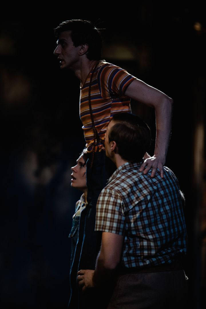 "Gideon Glick (center) as Dill Harris with Celia Keenan-Bolger as Scout Finch and Will Pullen as Jem Finch in ""To Kill a"