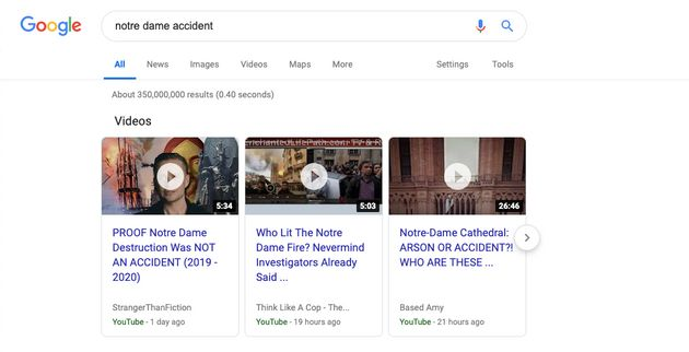 YouTube And Google Algorithms Promoted Notre Dame Conspiracy