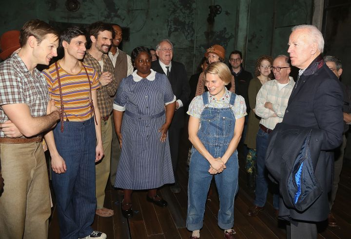 "Glick (second from left) and the ""To Kill a Mockingbird"" cast got a visit from former Vice President Joe Biden in December 20"