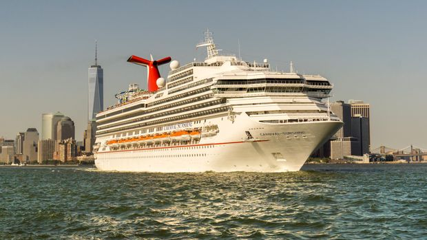 The Carnival Sunshine cruise ship departs New York harbor on Saturday, June 25, 2016. Shares of Carnival Corp. tanked after the cruise ship purveyor reported an outlook that was weaker than expected citing fuel costs. (Photo by Richard B. Levine)