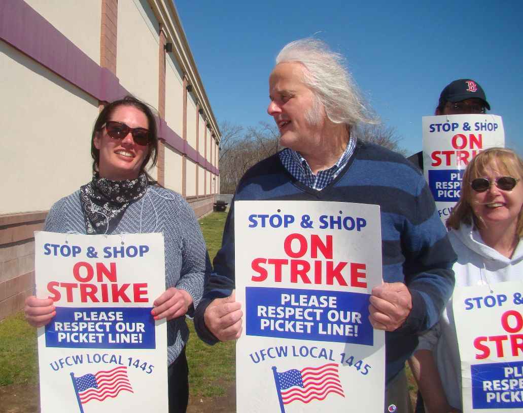 Pete Katsigianis on a picket line with fellow Stop & Shop employees at a store in Plainville, Mass., on April 17.