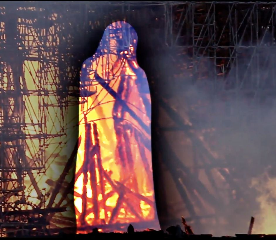 Jesus in notre dame flames?