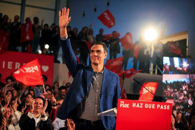 Pedro Sánchez, candidato socialista, anoche en