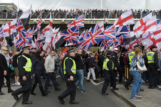 Britain First and EDL (English Defence League) protesters at a demonstration in London two years ago....