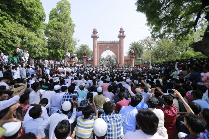 Aligarh Muslim University students during a protest over the Jinnah portrait issue in Aligarh.