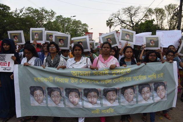 Manifestationà Dacca au Bangladesh pour protester contre le meurtre de Nusrat Jahan