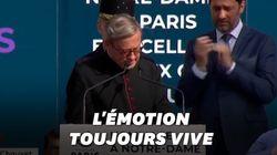Le recteur de Notre-Dame au bord des larmes lors de l'hommage aux