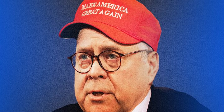 William Barr did not really wear a MAGA hat to the press conference, but he essentially did.