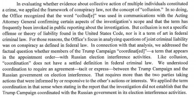 "The Mueller report avoided using the term ""collusion,"" and explains why here."