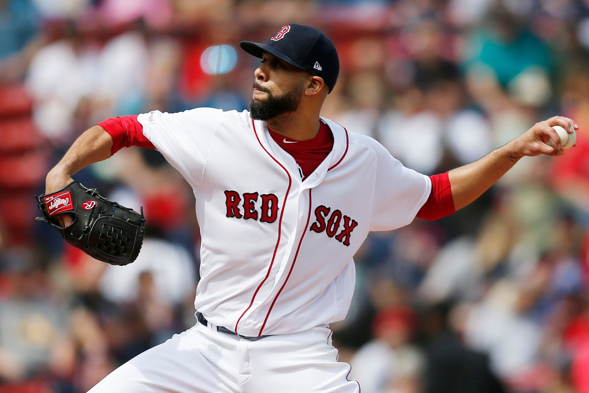 Boston Red Sox's David Price pitches during the first inning of a baseball game against the Baltimore Orioles in Boston, Sunday, April 14, 2019. (AP Photo/Michael Dwyer)