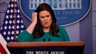 U.S. White House Press Secretary Sarah Huckabee Sanders holds the daily briefing at the White House in Washington, DC, U.S., October 29, 2018. REUTERS/Carlos Barria