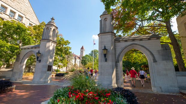 BLOOMINGTON, IN - SEPTEMBER 23: General view of Sample Gates on the campus of Indiana University are seen before the game against the Georgia Southern Eagles at Memorial Stadium on September 23, 2017 in Bloomington, Indiana. (Photo by Michael Hickey/Getty Images)