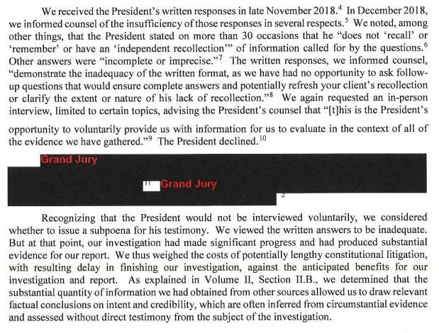 The Mueller report says Trump refused to be interviewed by the special counsel and his team.