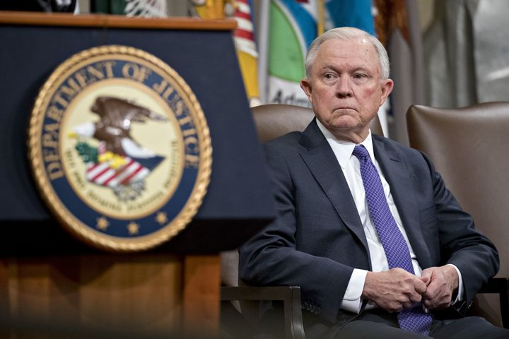 Former Attorney General Jeff Sessions at an event at the Department of Justice in Washington, D.C. -- Oct. 25, 2018.