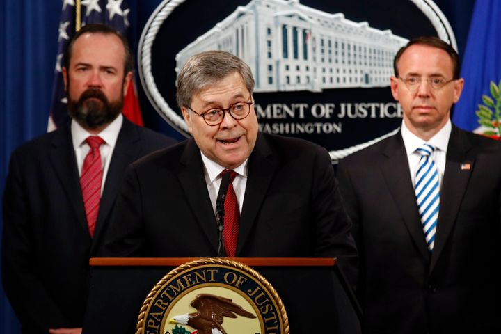 Attorney General William Barr speaks about the release of a redacted version of special counsel Robert Mueller's report durin