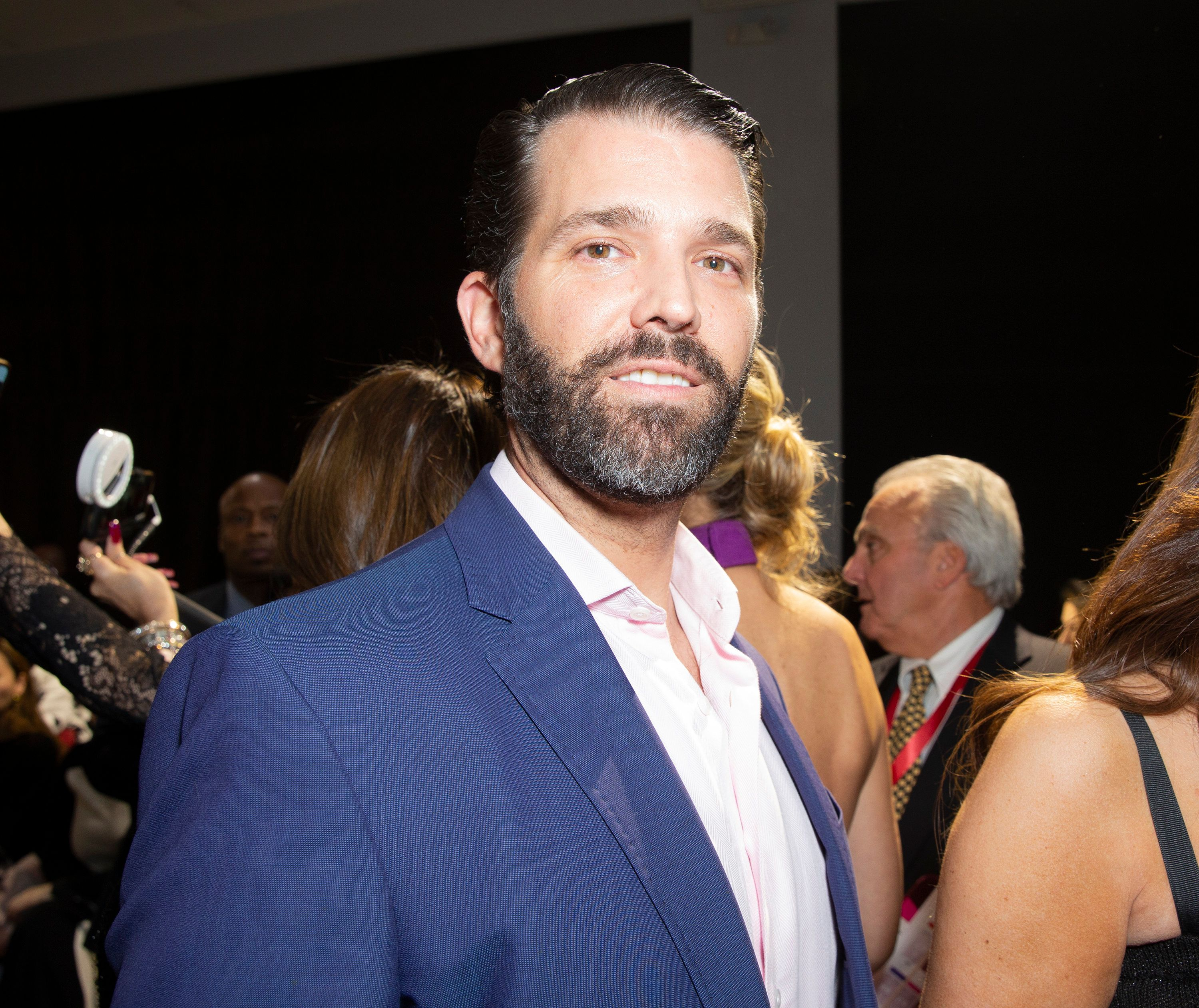 SPRING STUDIOS, NEW YORK, UNITED STATES - 2019/02/13: Donald Trump Jr. attends runway for Zang Toi Fall/Winter collection during New York Fashion Week at Spring Studios. (Photo by Lev Radin/Pacific Press/LightRocket via Getty Images)
