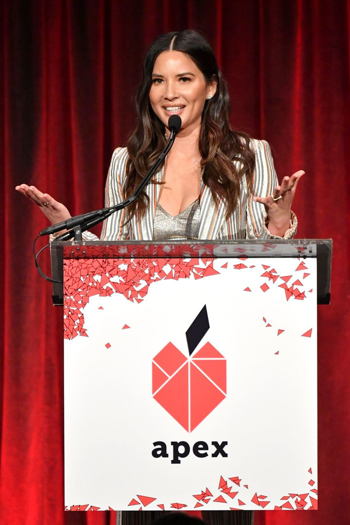 Olivia Munn speaks at the gala on Wednesday.