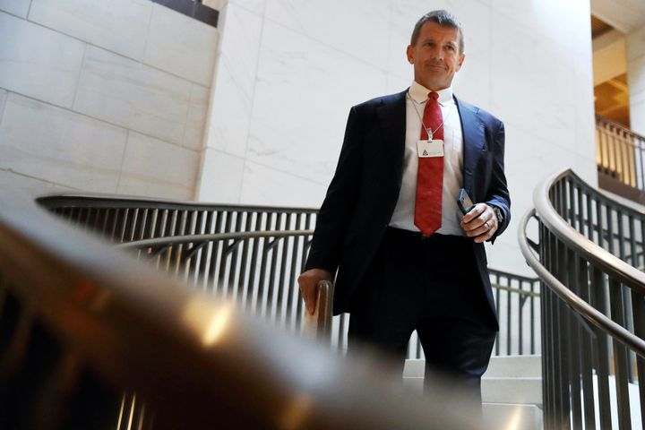 Blackwater founder Erik Prince arrives for a closed meeting with members of the House Intelligence Committee on Nov. 30, 2017
