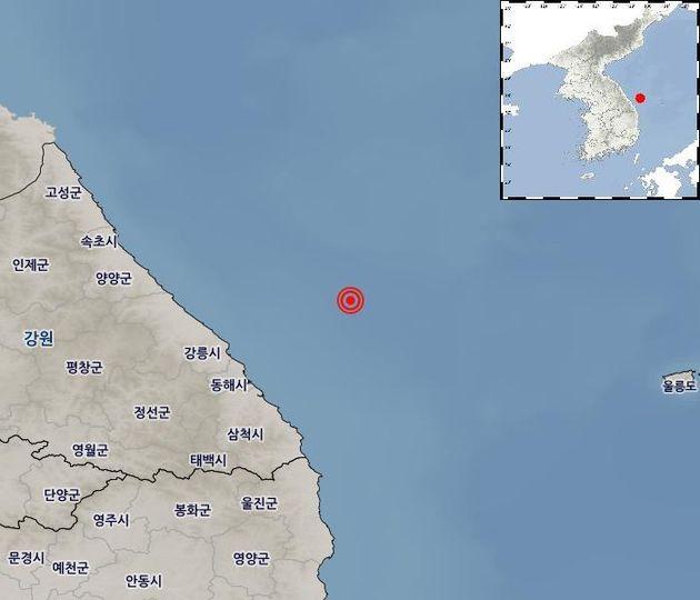강원 동해시 북동쪽 54km 해역서 규모 4.3 지진