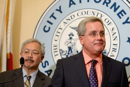 FILE PHOTO:    San Francisco City Attorney Dennis Herrera and Mayor Ed Lee announce they have filed a lawsuit against President Donald Trump for his unconstitutional executive order targeting sanctuary cities during a news conference at city hall in San Francisco, California, U.S., January 31, 2017. REUTERS/Kate Munsch/File Photo