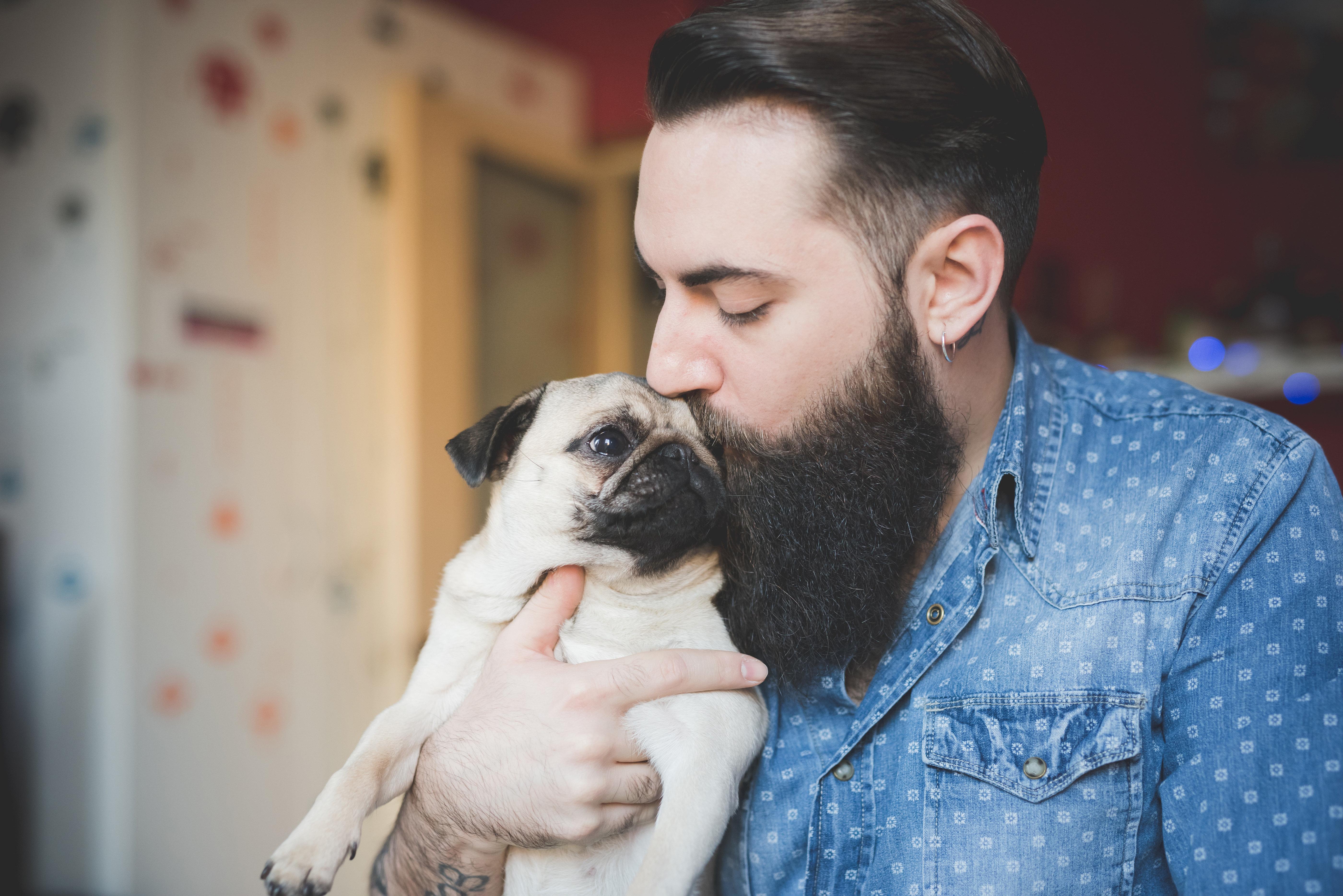 顎髭の男性と犬 イメージ写真