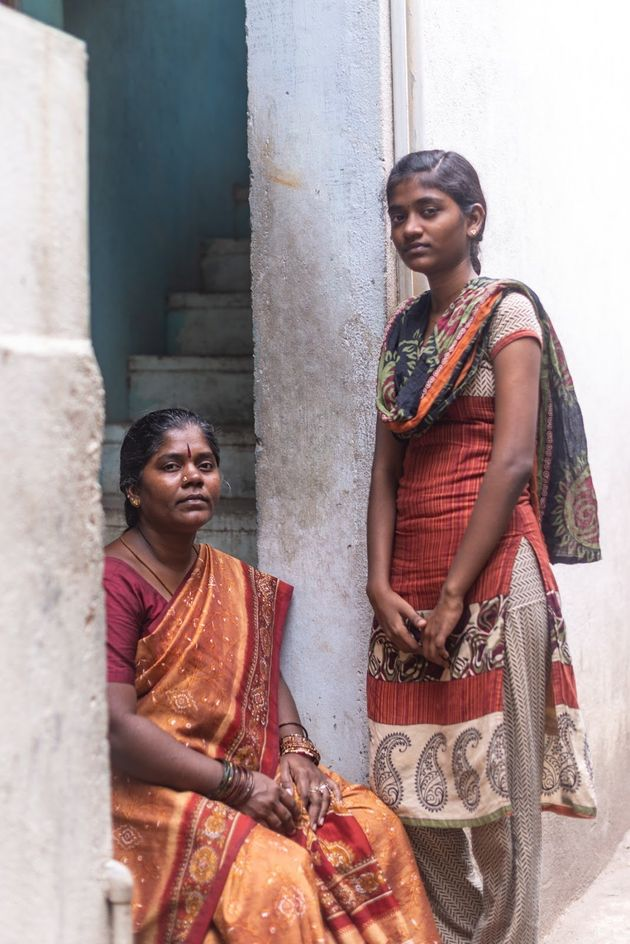 Kannika and one of her daughters outside their home in Chennai,