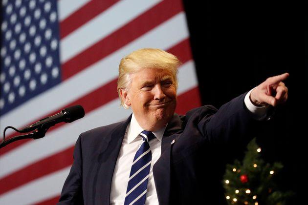 Donald Trump, durante su tour en diciembre de 2016 para dar las gracias por su elección para la...