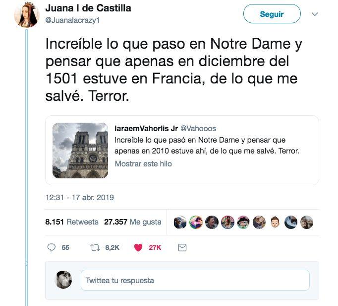 Juana la Loca responde al mensaje del joven que estuvo en 2010 en Notre