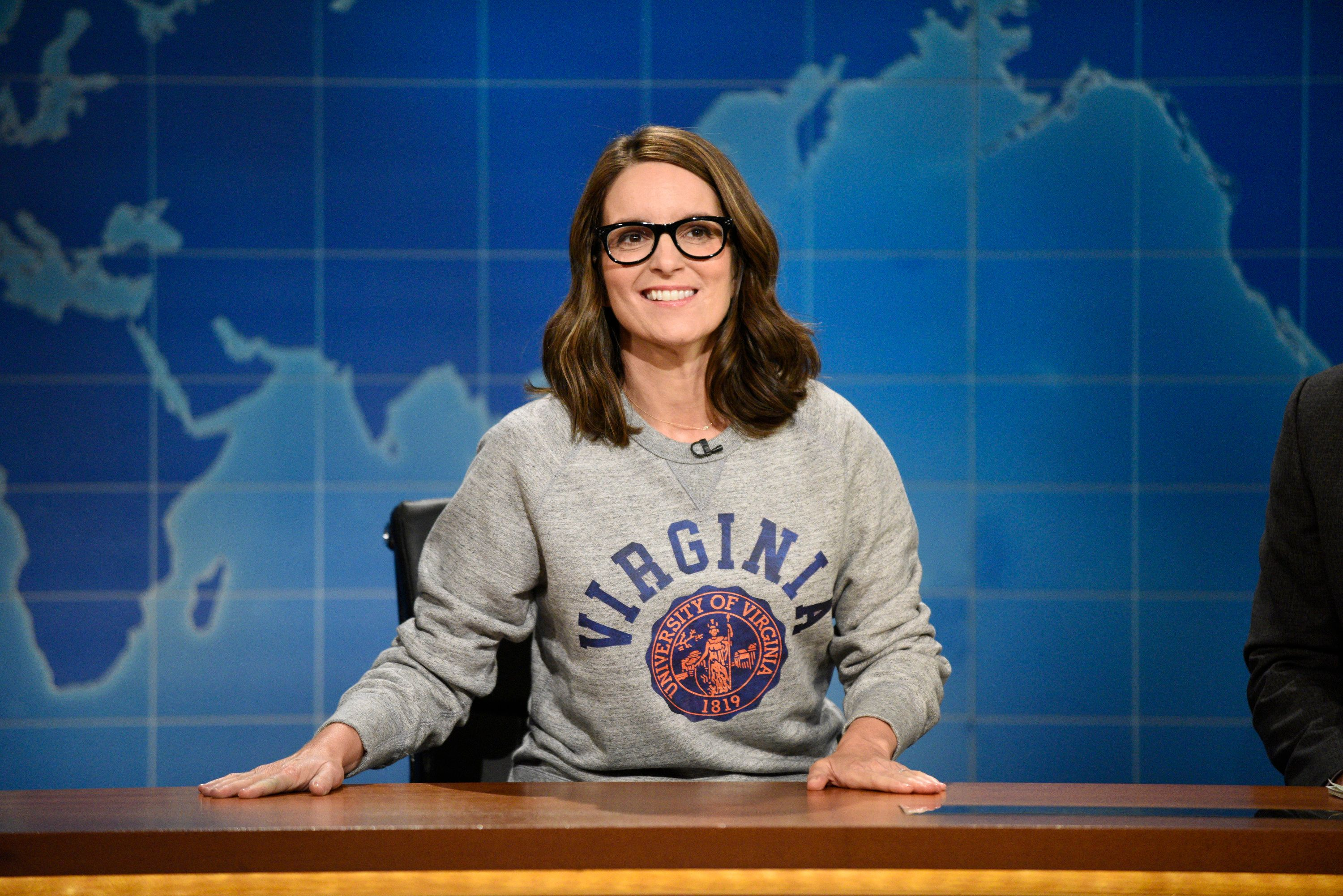 SATURDAY NIGHT LIVE: WEEKEND UPDATE -- Episode 102 -- Pictured: Tina Fey at the Weekend Update desk on August 17, 2017 -- (Photo by: Will Heath/NBC/NBCU Photo Bank via Getty Images)