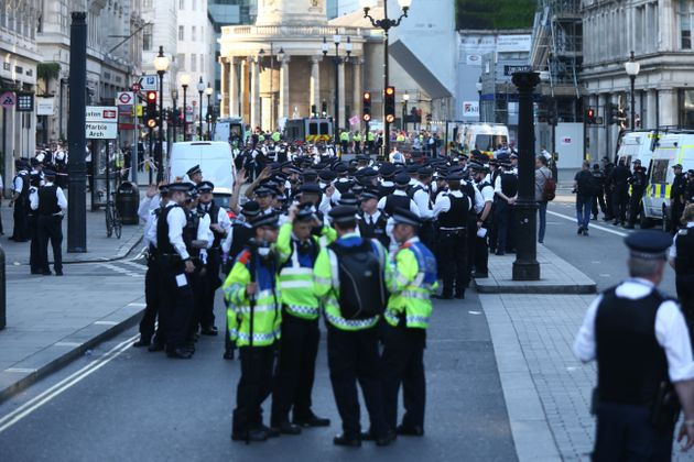 Police maintain a strong presence as Extinction Rebellion protests continue at Oxford Circus in