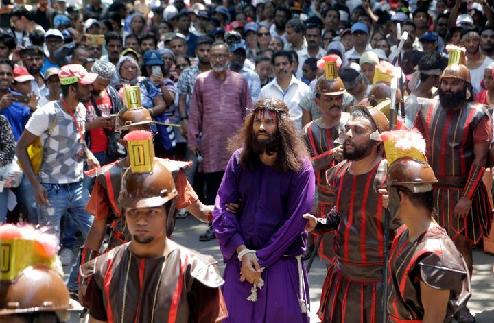 A man portrays Jesus in Mumbai, India, on April 19, 2019.