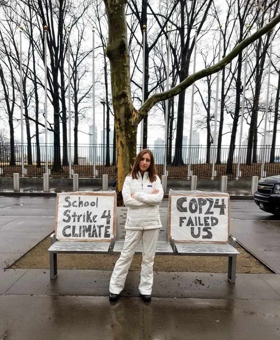 Alexandria Villaseñor protesting outside the United Nations headquarters in New York City in