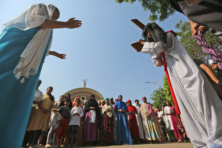 Christians mark Good Friday outside St. Joseph's Cathedral in Prayagraj, India, on April 19, 2019.